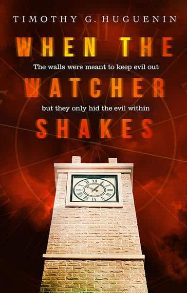 A crime thriller cover design by Design for Writers with a creepy edge. When the Watcher Shakes by Timothy Huguenin